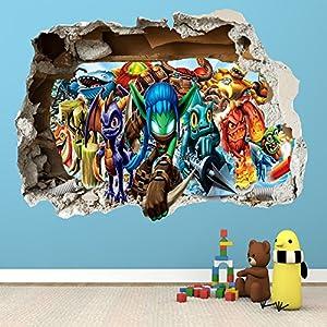 SKYLANDERS SMASHED WALL STICKER   BEDROOM BOYS GIRLS VINYL WALL ART DECAL