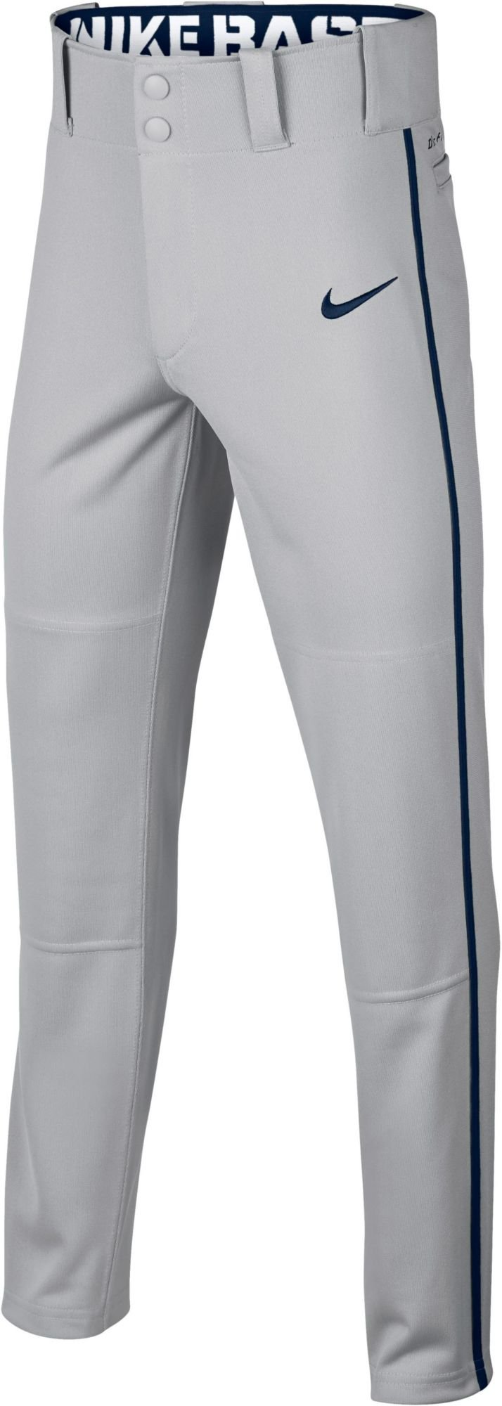 Nike Boy's Swoosh Piped Dri-FIT Baseball Pants (Grey/Navy, X-Small)