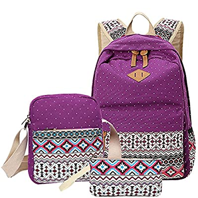 outlet Polka Dot Printing Backpacks - TOOGOO(R)3 pcs/set Polka Dot Printing Women Backpack Cute Lightweight Canvas Bookbags Middle High School Bags for Teenage Girls, Purple