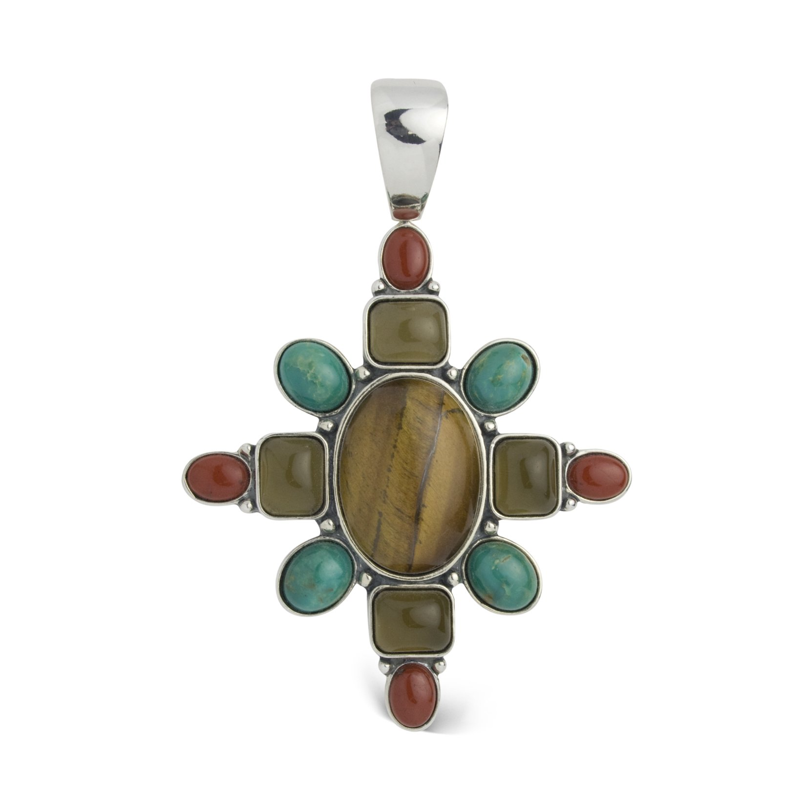 Carolyn Pollack Sterling Silver Multi Gemstone Autumn Hues Pendant Enhancer