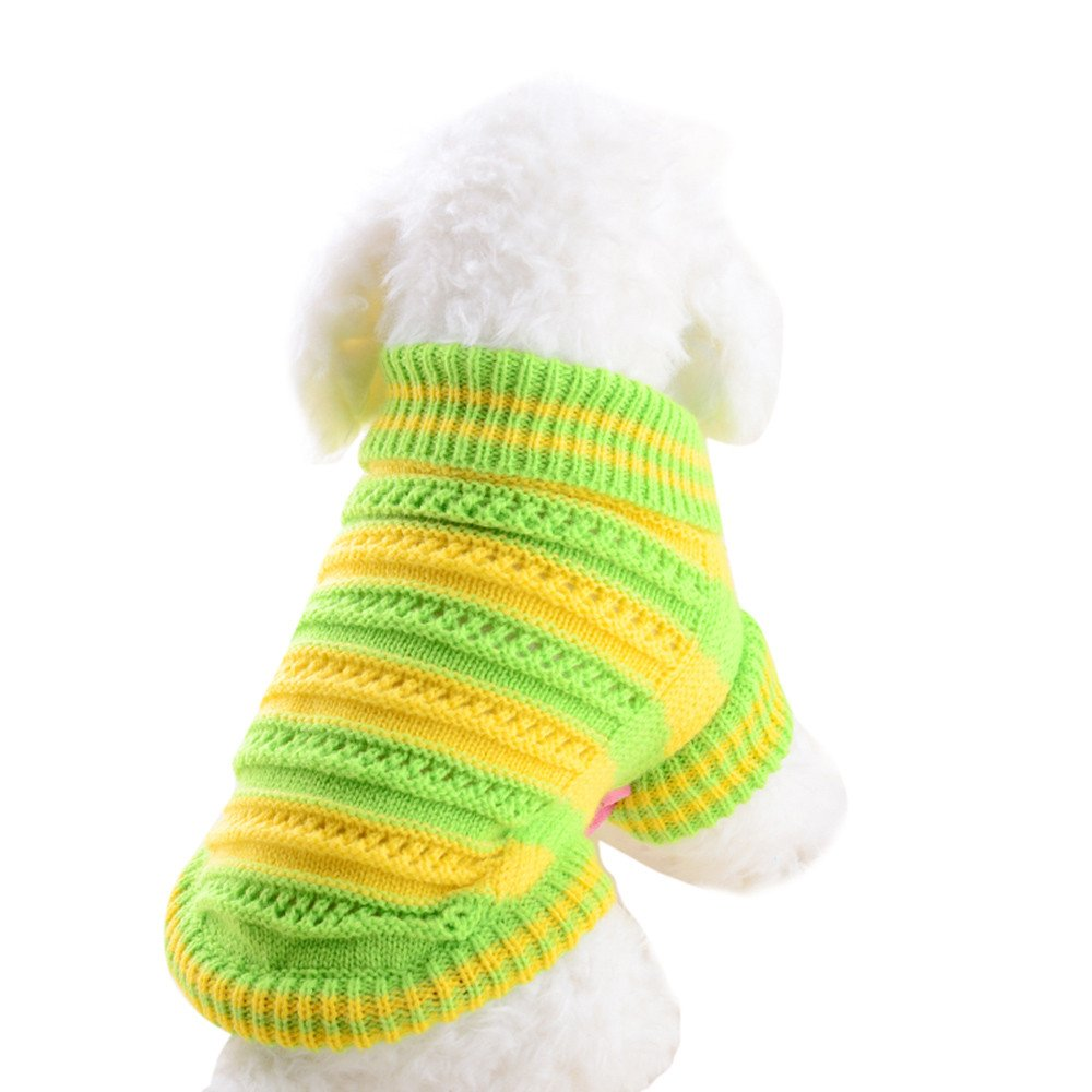 VêTements pour Chien,Vêtements de Chien Pull ajouré Chien pour Les Petits Chiens Pulls d'hiver,Manteau pour Chien (L, Vert) Kaiki Vetement Chien Vetement
