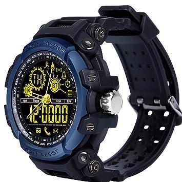 LEMFO Relojes Inteligentes, LF21 50M Cronómetro Impermeable Luz de Fondo Distancia Pista Podómetro Llamada Físico Heavy Duty Fitness Reloj Bluetooth para ...