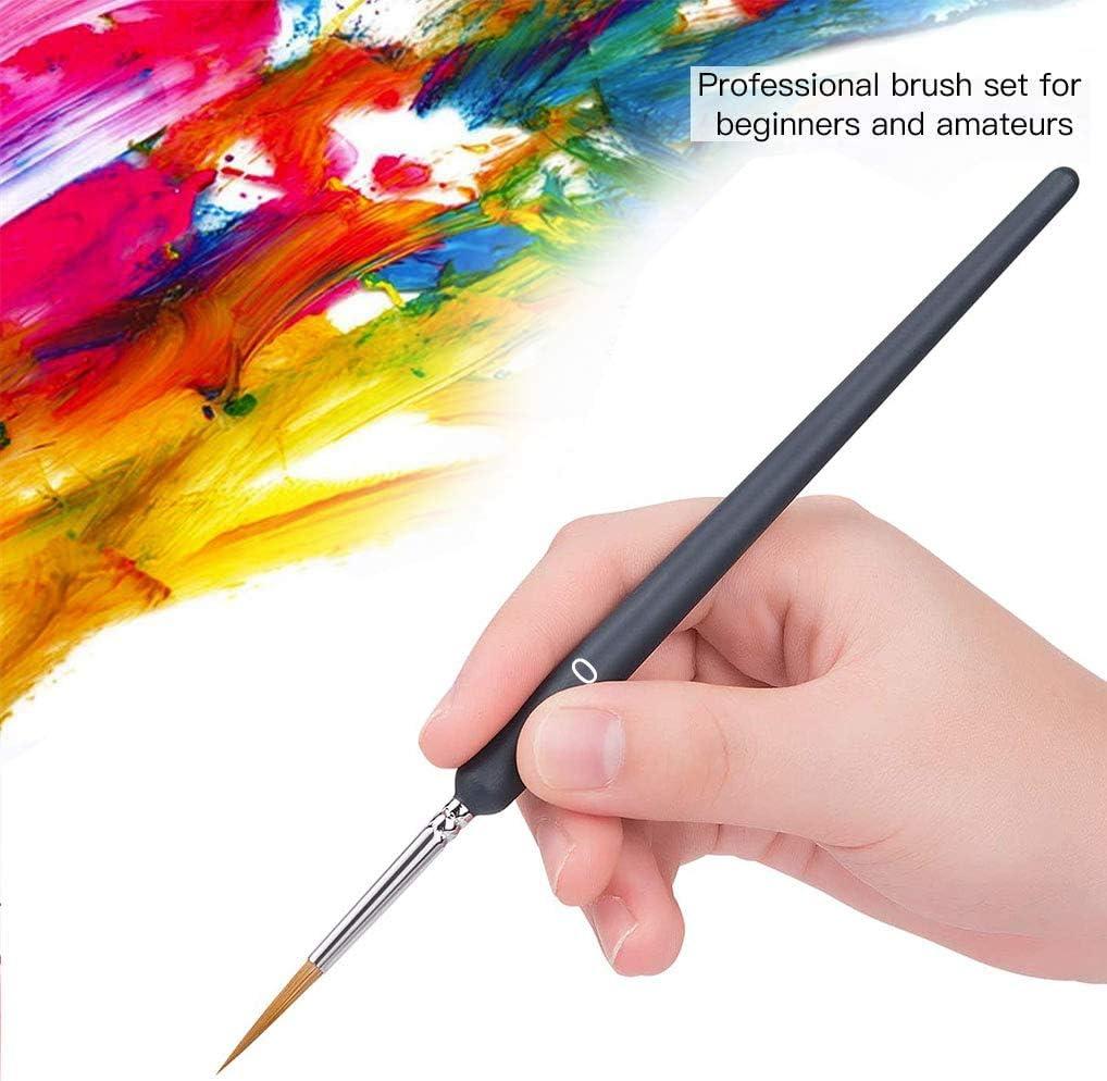 9 Piezas Pro Extra Fino Detalle Acuarela Pintura Cepillos de pintura acrílica en miniatura