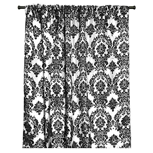 lovemyfabric Taffeta Flocking Damask Print Window Curtain Panel/Stage Backdrop/Photography Backdrop-Black on White (1, 56