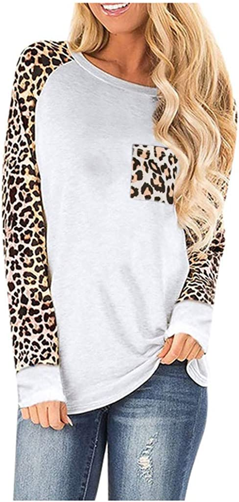 T-Shirt Women's Fashion Crewneck Loose Leopard Printed Warm Tops(White,M)