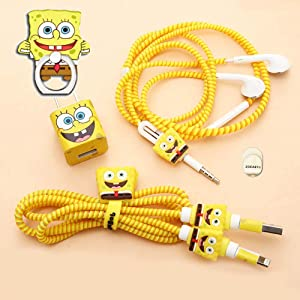 ZOEAST(TM) DIY Protector Yellow Star Data Cable USB Charger Line Earphone Wire Saver Organizer Compatible with iPhone 5S SE 6 6S 7 8 Plus X XS XR Max iPad iPod iWatch (Basic Styles, Spongebob)