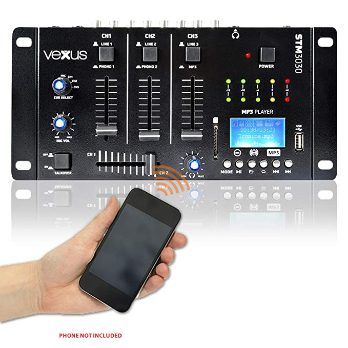 Vexus Bluetooth 4-Ch Mixer Wireless Audio Streaming SD USB MP3 DJ Disco  STM3030