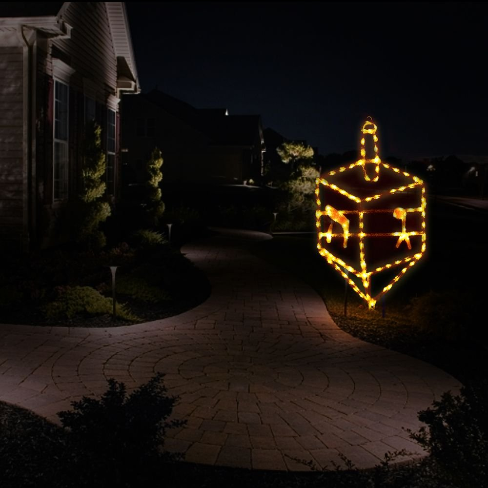 Hanukkah Outdoor / Indoor 5 ft. Gold Dreidel Traditional Decoration with LED lights and stand