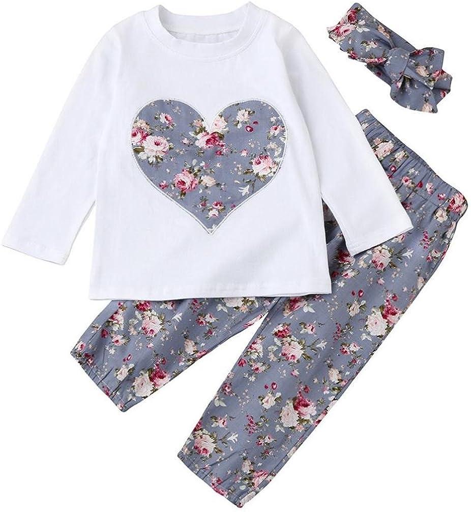 SMARTLADY Ropa Bebe Niña Invierno Otoño de 0 a 24 Meses Bebé Niñas Camisetas de Manga Larga y Pantalones de Flores + Vendas de Pelo Conjunto de Ropa: Amazon.es: Ropa y accesorios