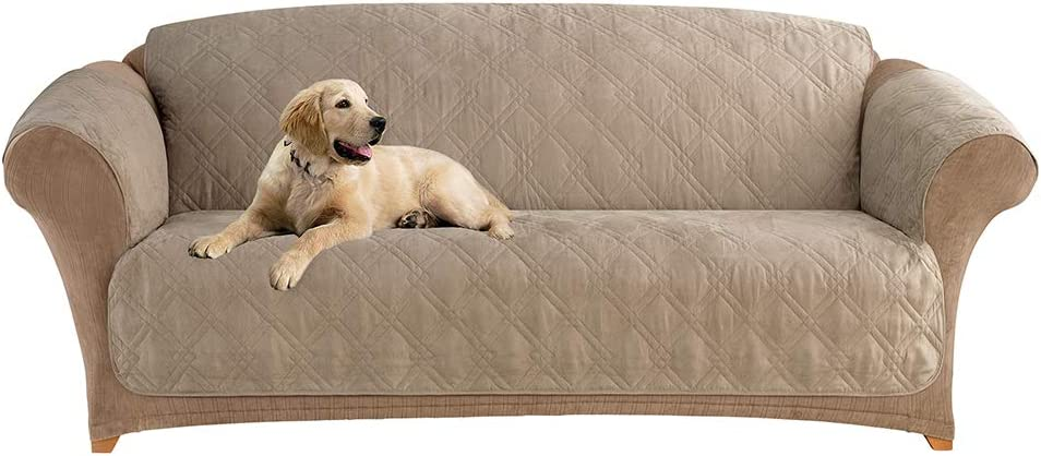 Sure Fit Home Décor Microfiber Pet Sofa One Piece Quilted Furniture Cover, Relaxed Fit, Polyester, Machine Washable, Sable Color
