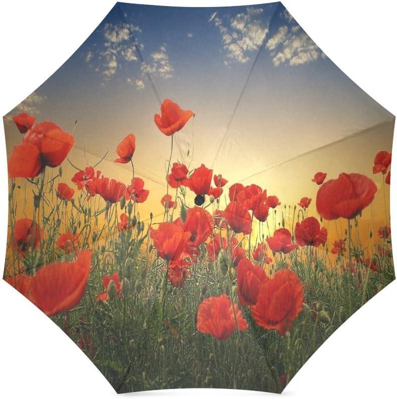 Custom Red Poppy Flower Compact Travel Windproof Rainproof Foldable Umbrella