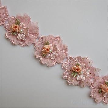 2 Meter Blumen Perlen Spitze Rand Trim Band 4,5 cm Breite Vintage ...