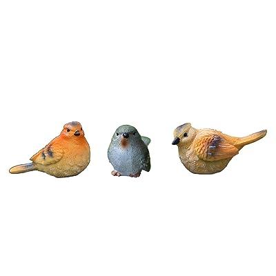 Rmdusk Exquisite Small Bird Figurine, Resin Bird Décor Outdoor, Decorative Statue, Ornament for Home Garden Lawn Yard (Set of 3) : Garden & Outdoor