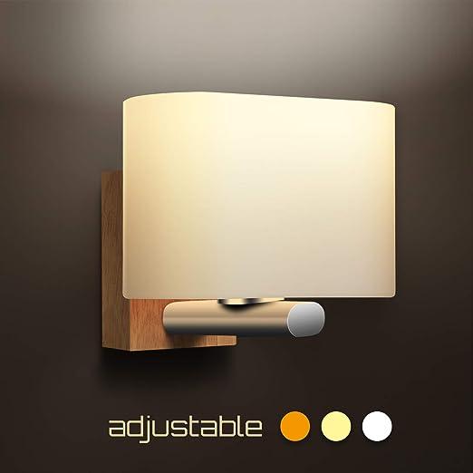 Apliques Pared Interior, Awebb Luz Aplique Baño LED Moderno Madera ...