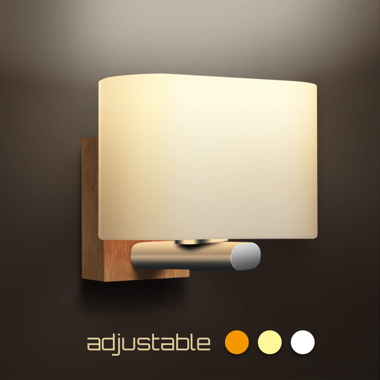 Wandleuchte Innen, Awebb Wandlampe Led Holz zum Bad Schlafzimmer   Treppe Flur (Enthalten E27 LED-Lampe)