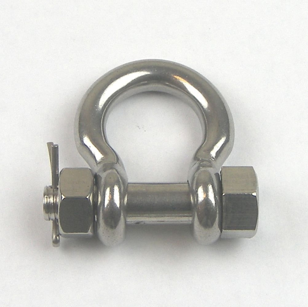 (5pcs) Stainless Steel T316 Bolt Pin Anchor Shackle- Safety Bolt Shackle - Cargo Control - Chain Connector -3/16''