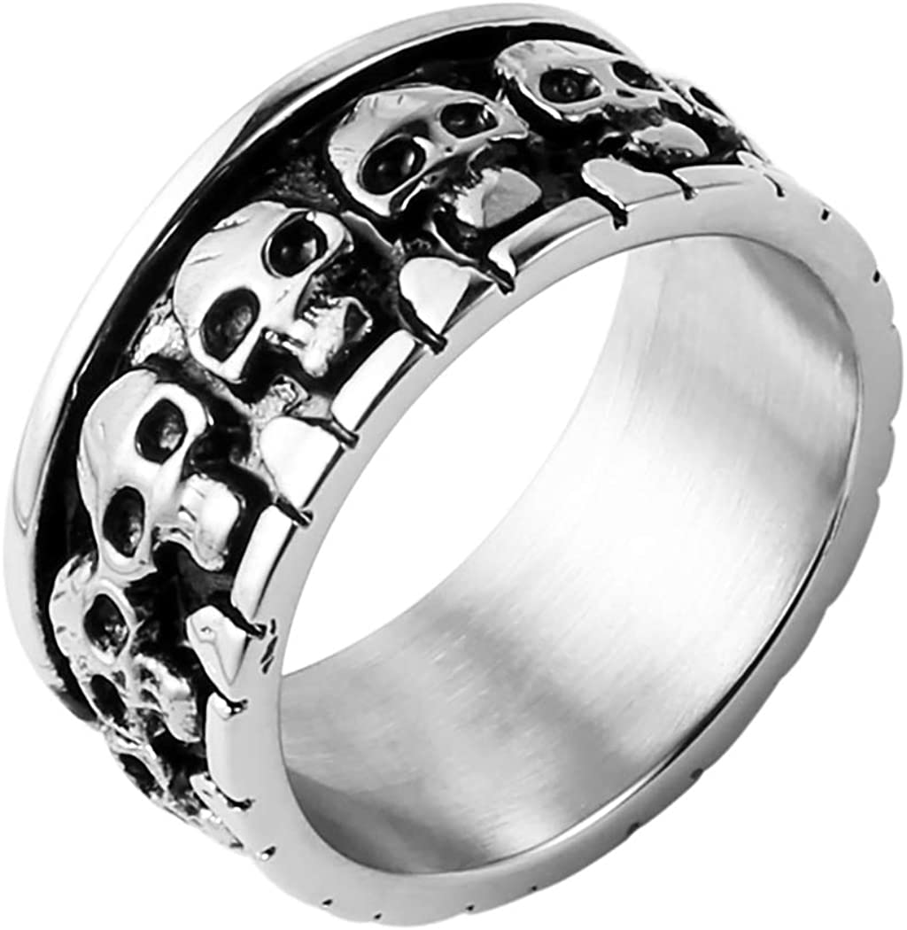 HZMAN Gold Silver Gothic Skull Rings for Men Women, Stainless Steel Day of The Dead Mens Jewelry, Womens Biker Cool Ring