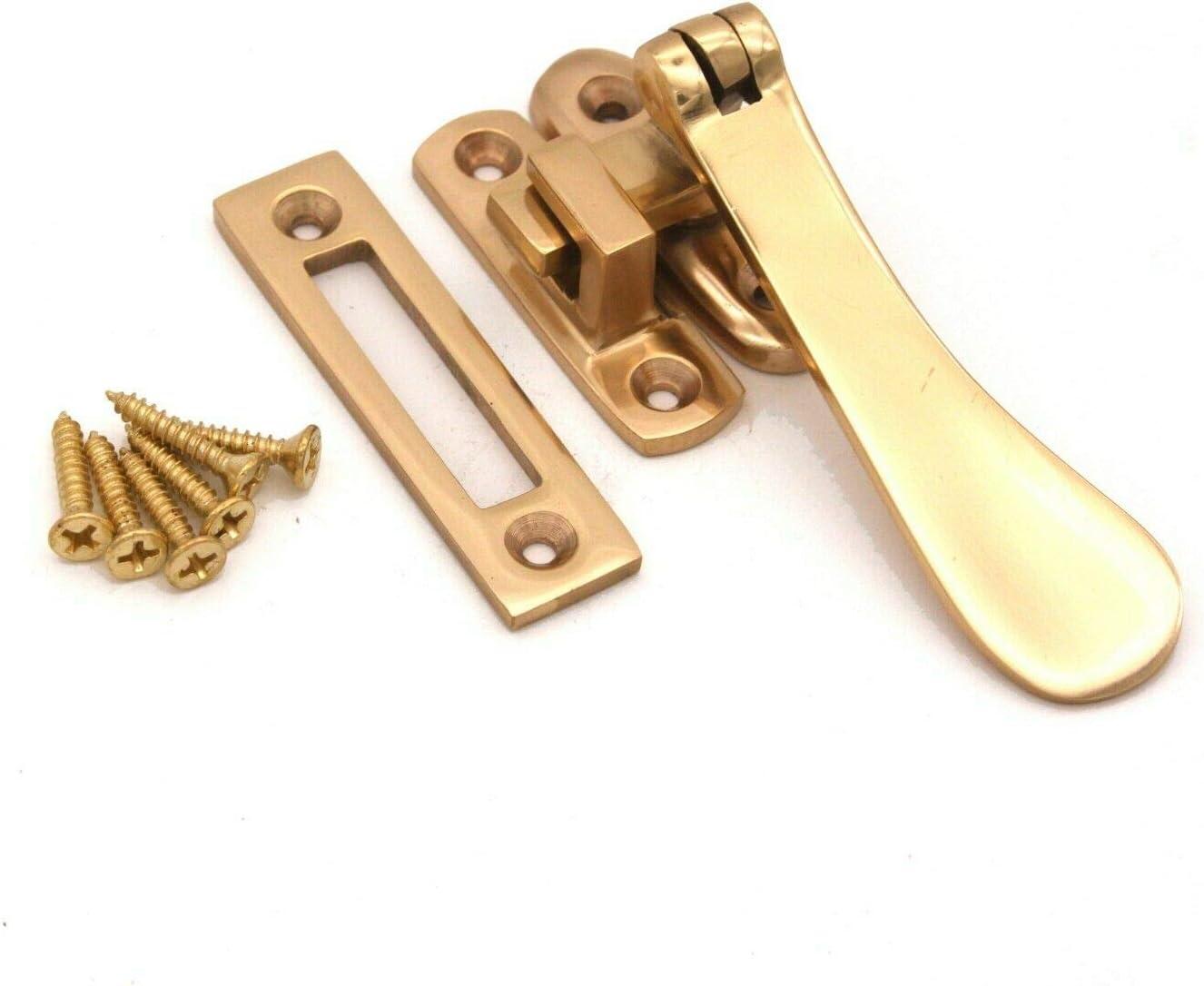 Solid Brass Spoon Casement Window Furniture Handle Hook MORTICE Victorian Fastener Brass