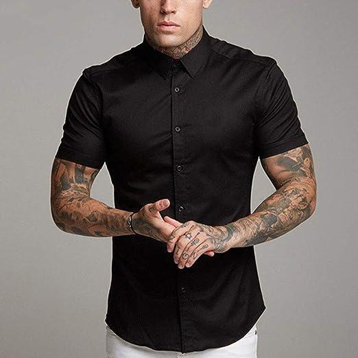 CSDM Camisa de Hombre Elegante Camisa Blanca Lisa Hombres Camisas Vestido de Manga Corta Camiseta de Verano Casual Slim Fit Tops Hombre Ropa Camisas Masculina: Amazon.es: Hogar