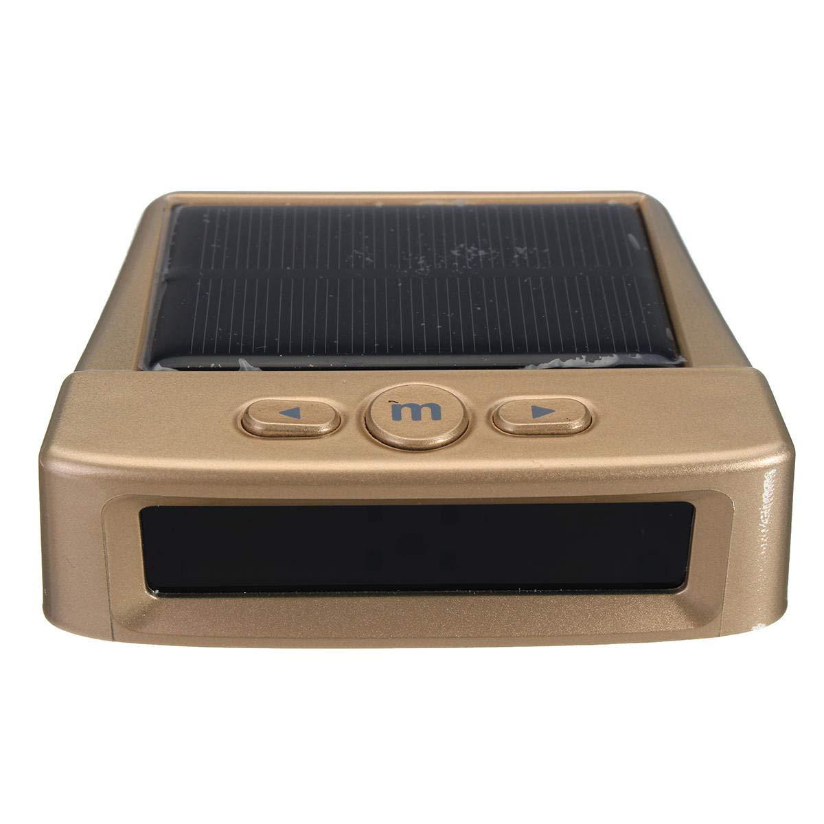 USB/Solar Wireless Car TPMS Tyre Tire Pressure Monitor System+4 External Sensor - Car Electronics Car Electronic Gadgets - (Gold) - 4 X Internal Sensor