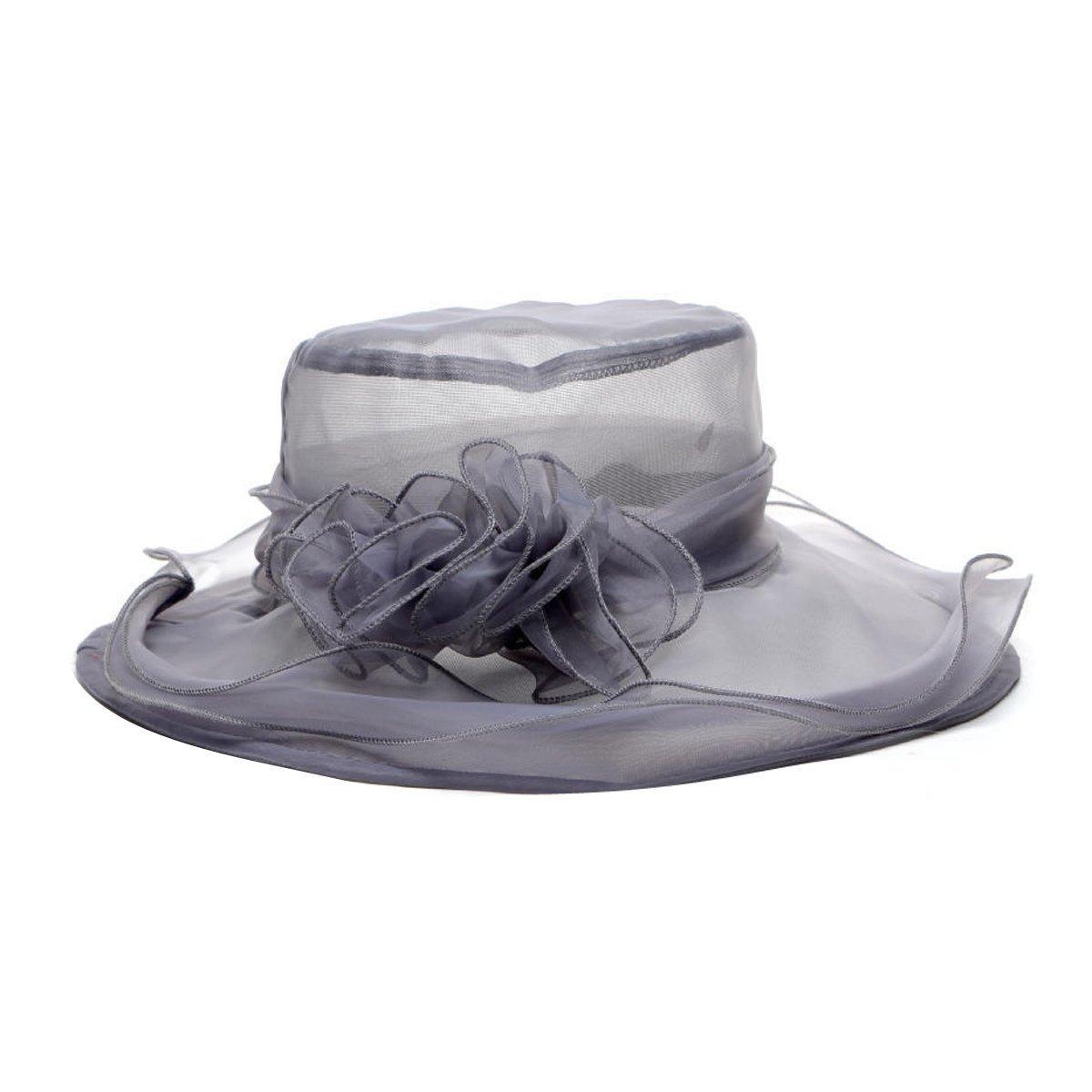 HugeStore – Cappello estivo, da donna, floreale, in organza, mussolina, cappello da Kentucky Derby, pieghevole, a tesa larga Grey