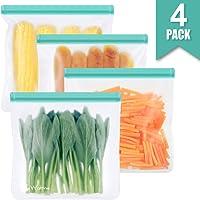 Reusable Sandwich & Snacks Bags, Reusable Ziplock Storage Bags Freezer Safe, Extra Thick PEVA Material BPA/Plastic Free...