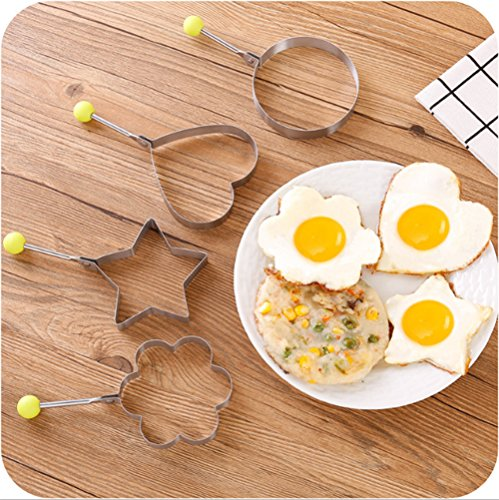 10Pcs Omelette Mold Fried Egg Mold Set in 10 Different Shapes Stainless Steel Fried Egg Ring with 1 Silicone Pastry Brush - Set of 11 by FDIO (Image #2)