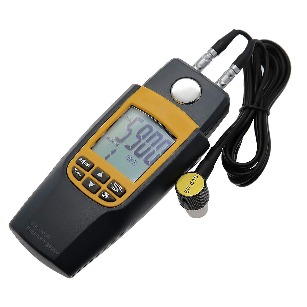 AMTAST Digital Ultrasonic Thickness Meter Range 1.2~225mm 0.05-8.8inch LCD Handheld Ultrasonic Thickness Tester Gauge with Tool Box