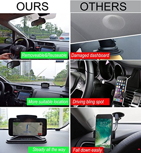 AONKEY Cell Phone Holder for Car, Dashboard Anti-Slip Vehicle GPS Car Mount Universal for All Smartphones, Compatible iPhone XR XS Max X 8 7 6S Plus, Galaxy S10/S9 Plus S8 Note 9/8, LG V30, Pixel 3 XL