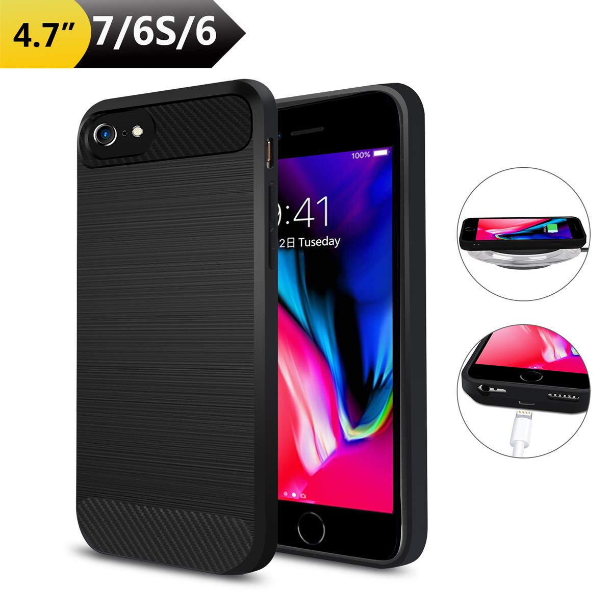 Qi Wireless Charging Case for iPhone 7/6(Not Battery), ANGELIOX Wireless Charger Charging Receiver Back Cover,Soft TPU Protective Case,Brushed Surface Finish,with Cable Charging Port(4.7 inch) by ANGELIOX