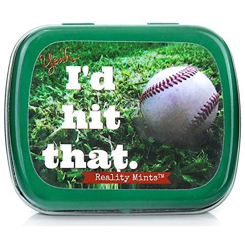 Gears Out Yeah I'd Hit That Baseball Mints - Baseball Design Mint tin - Novelty Candy for Men - Peppermint Breath Mints, - Baseball Gift Baskets