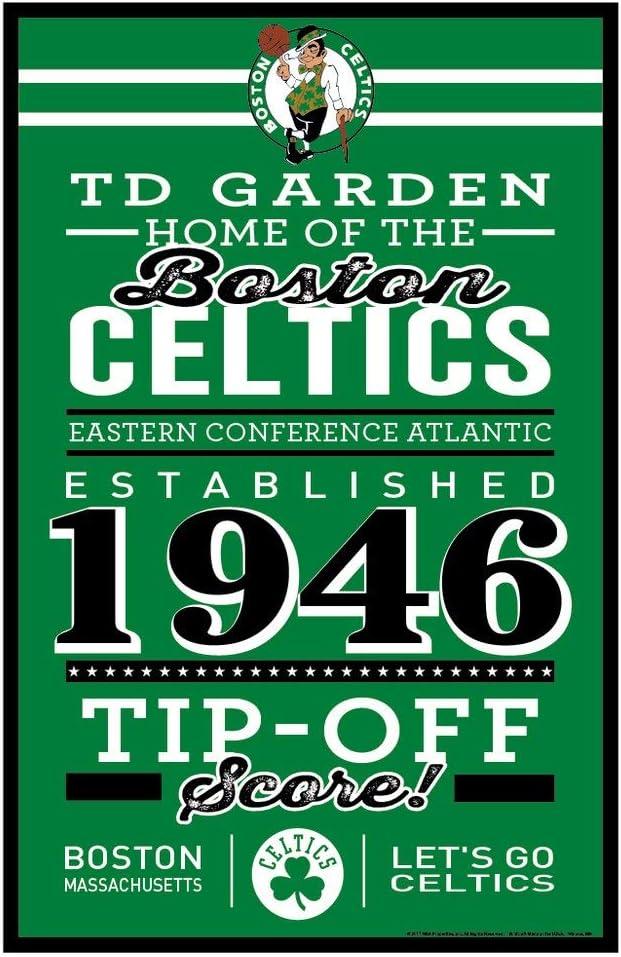 WinCraft NBA Boston Celtics SignWood Established Design Team Color 11x17