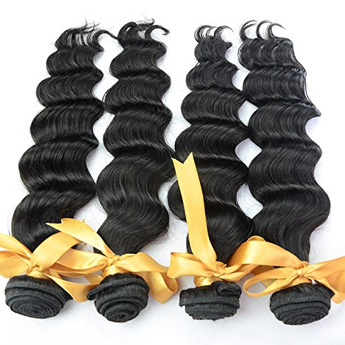 Price comparison product image 4 Bundles 20 20 22 22 Human Virgin Hair Extensions Loose Wave Brazilian Virgin Hair Products