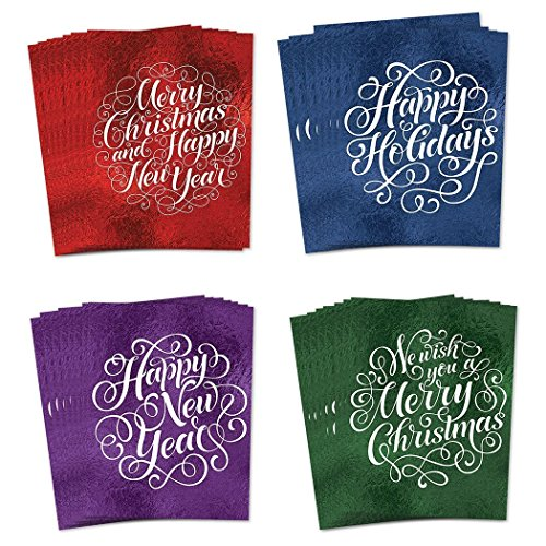 48 Pack Christmas Greeting Cards, Assortment of 4 Elegant Faux Foil Designs with Envelopes, Holiday Celebration Set Premium Seasonal Cards, 48 Mixed Variety Boxed Notes, Excellent Value by Digibuddha -