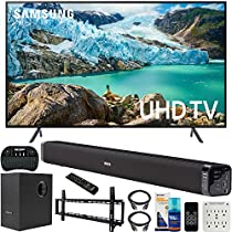 Samsung UN55RU7100 55-inch RU7100 LED Smart 4K UHD TV (2019) Bundle with Deco Gear Soundbar with Subwoofer, Wall Mount Kit, Deco Gear Wireless Keyboard, Cleaning Kit and 6-Outlet Surge Adapter