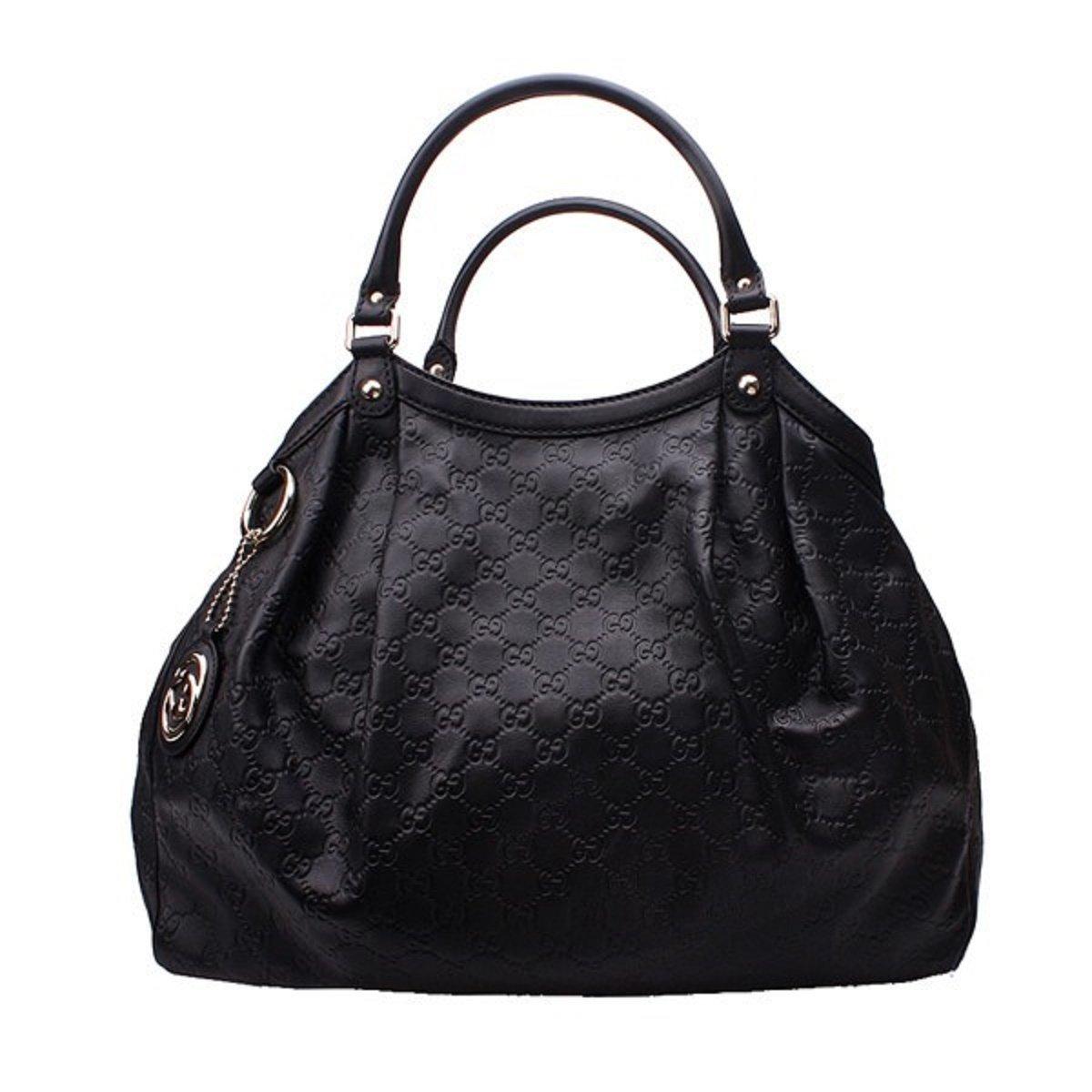 a77e81a62046 Amazon.com: Gucci Sukey Guccissima Black Leather Large Tote Bag Handbag:  Shoes
