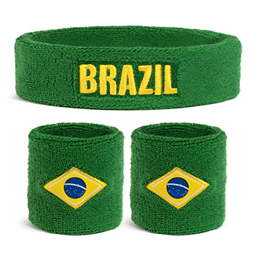 National Costume All Country (Suddora Brazil Country Headband & Wristbands Set (Includes 2 Wrist & 1 Head Sweatband))