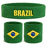 Suddora Brazil Country Headband & Wristbands Set (Includes 2 Wrist & 1 Head Sweatband)