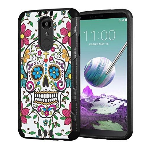 (Moriko Case Compatible with LG Stylo 4 Plus, LG Stylo 4, LG Q Stylus [Armor Layer Drop Protection Slim Fashion Shockproof Black Case] for LG Stylo 4 - (Sugar Skull Blue))