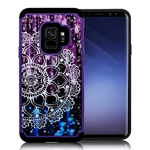Full Bling Purple Flowers - ZASE Case Compatible with Samsung Galaxy S9, Galaxy S9 Hybrid Dual Layer Protection [Jewel Rhinestone] Shockproof Slim Hard Shell Sparkly Crystal [Bling Diamond] Cover (Purple Blue Mandala Flower)