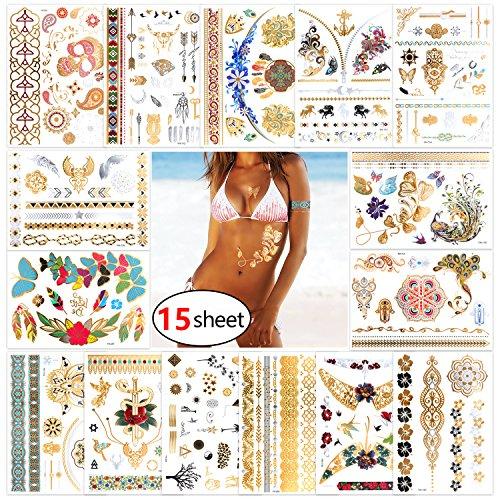 Jewelry Hawaiian Face (Konsait Terra tattoos Metallic Henna Tattoos-15 Sheets Over210 Mandala Mehndi BohoTribal Temporary Tattoos in Gold Silver Colorful Deocr for Hawai Beach Pool Party Favors Bachelorette Wedding Supplies)