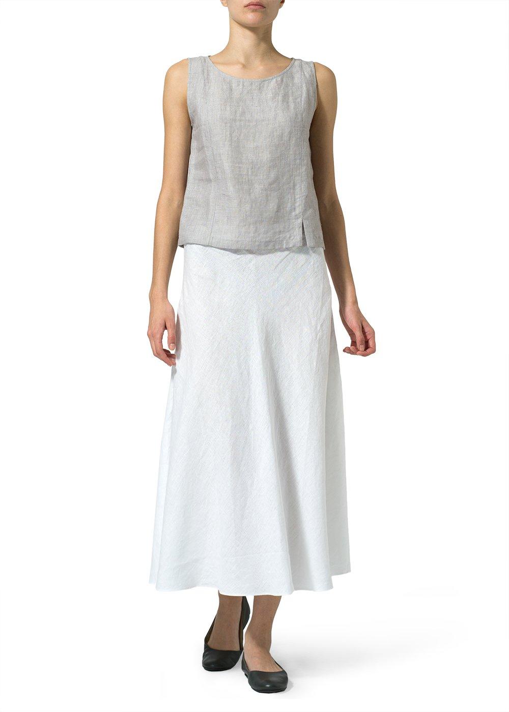 Vivid Linen Long Flowing Skirt-2X-White