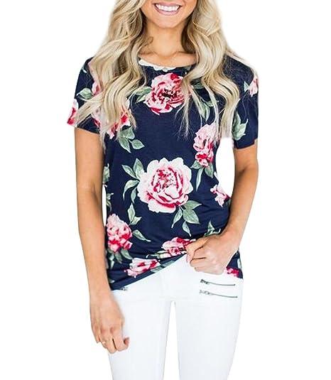 Camisetas Manga Corta Mujer Anchas Verano Personalizadas Camisas Floral Estampadas de Mujer Camiseta Casual Señora Camisa Camisetas y Tops Flojas Remeras ...