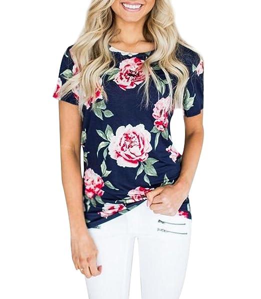 89f4e145e Camisetas Manga Corta Mujer Anchas Verano Personalizadas Camisas Floral  Estampadas de Mujer Camiseta Casual Señora Camisa Camisetas y Tops Flojas  Remeras ...