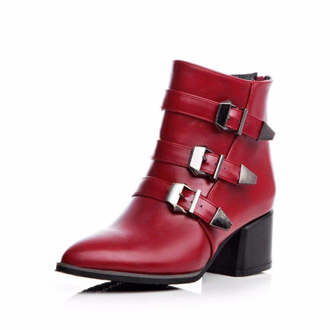 Nuestra marea de invierno botines botas botas de hebilla tamaño.,gules,35 US5.5 / EU36 / UK3.5 / CN35