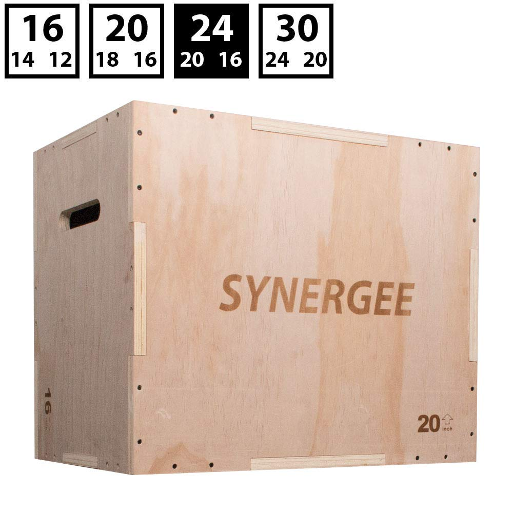 Synergee 3 in 1 Wood Plyometric Box for Jump Training and Conditioning. Wooden Plyo Box All in One Jump Trainer. Size - 24/20/16 by Synergee