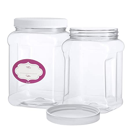 3 Pack - Half Gallon Large Clear Empty Plastic Storage Jars with Lids -  Square Food Grade Air Tight Wide Mouth Container with Easy Grip Handles -  BPA