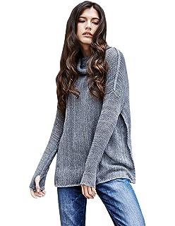 453973b84204 YOUJIA Damen Lässige Rollkragen Strickpullover Pullover Kleid Strickkleid  mit Daumenloch