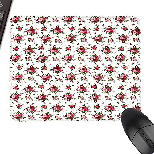 (Flowers Hot Selling Extra Large Mouse Pad Bridal Bouquets Pattern with Roses and Freesia Romantic Victorian Composition Natural Rubber Gaming Mouse Mat 35.4