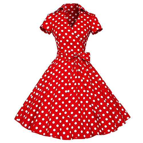 Robe Vintage 50s Mrulic Femme Party Rouge Manche Retro Housewife Casual Swing Pinup Sans De Ball Soirée 60s TYYqdw